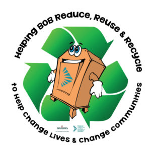 picture of big orange bin with recycling logo